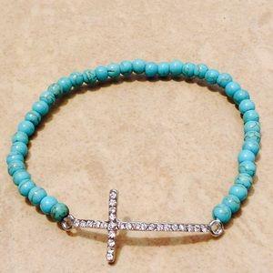 Jewelry - Silver Tone Crystal Sideways Cross Stretchy